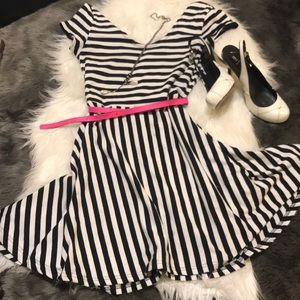 Black and white belted skater dress
